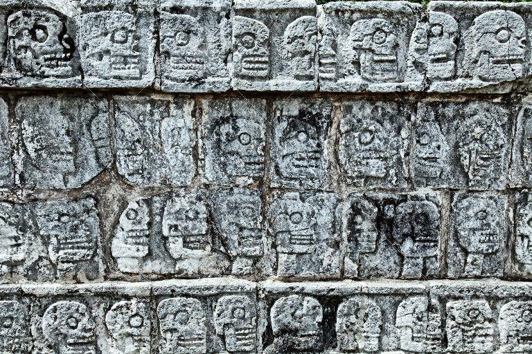 Tzompantli - Wall of Skulls, Chichen Itza, Mexico